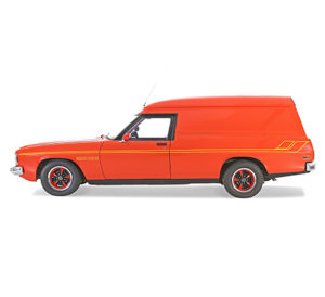 A smaller model of the car '1976 Holden HX Sandman' - in red