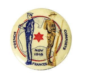 badge showing two soldiers with their backs to each other
