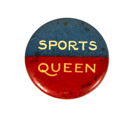 Round badge with top half blue and bottom half red showing text 'Sports Queen'